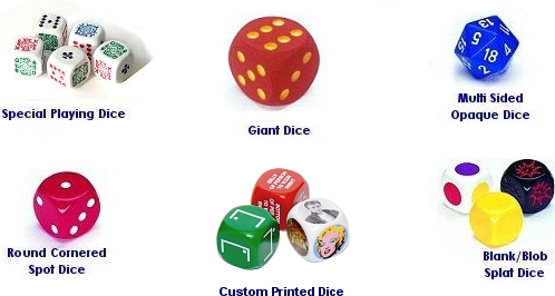Links to our Range of Dice custom Designed for Board Games