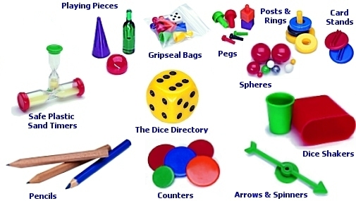 Plastic games pieces, dice, arrow spinners, Counters and plastic Sand Timers for board games and promotions.
